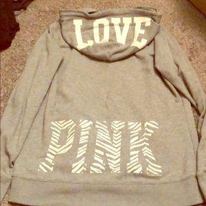 Zip up pink sweatshirt
